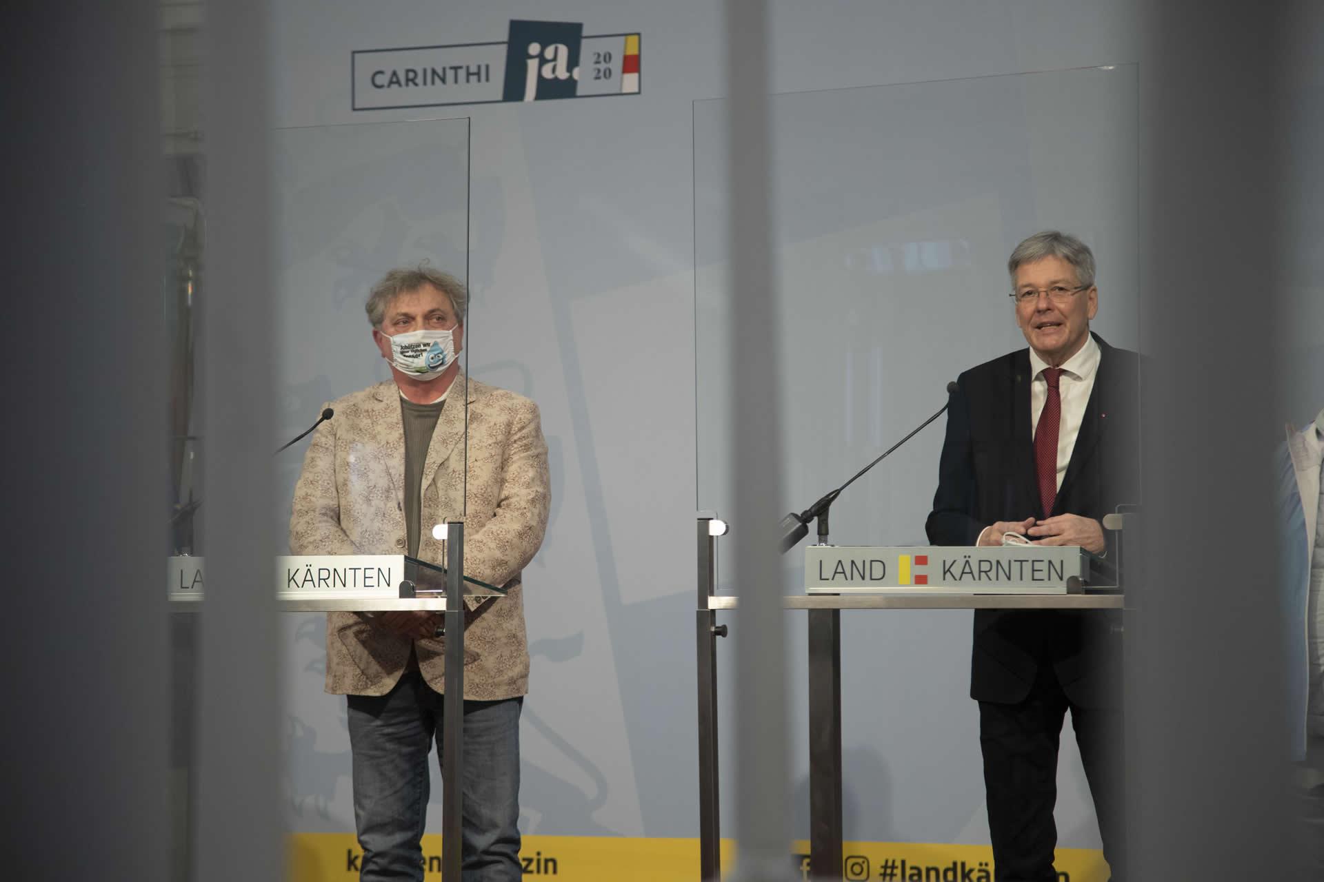 for distance Pressekonferenz | Reinhard Eberhart | LH Dr Peter Kaiser