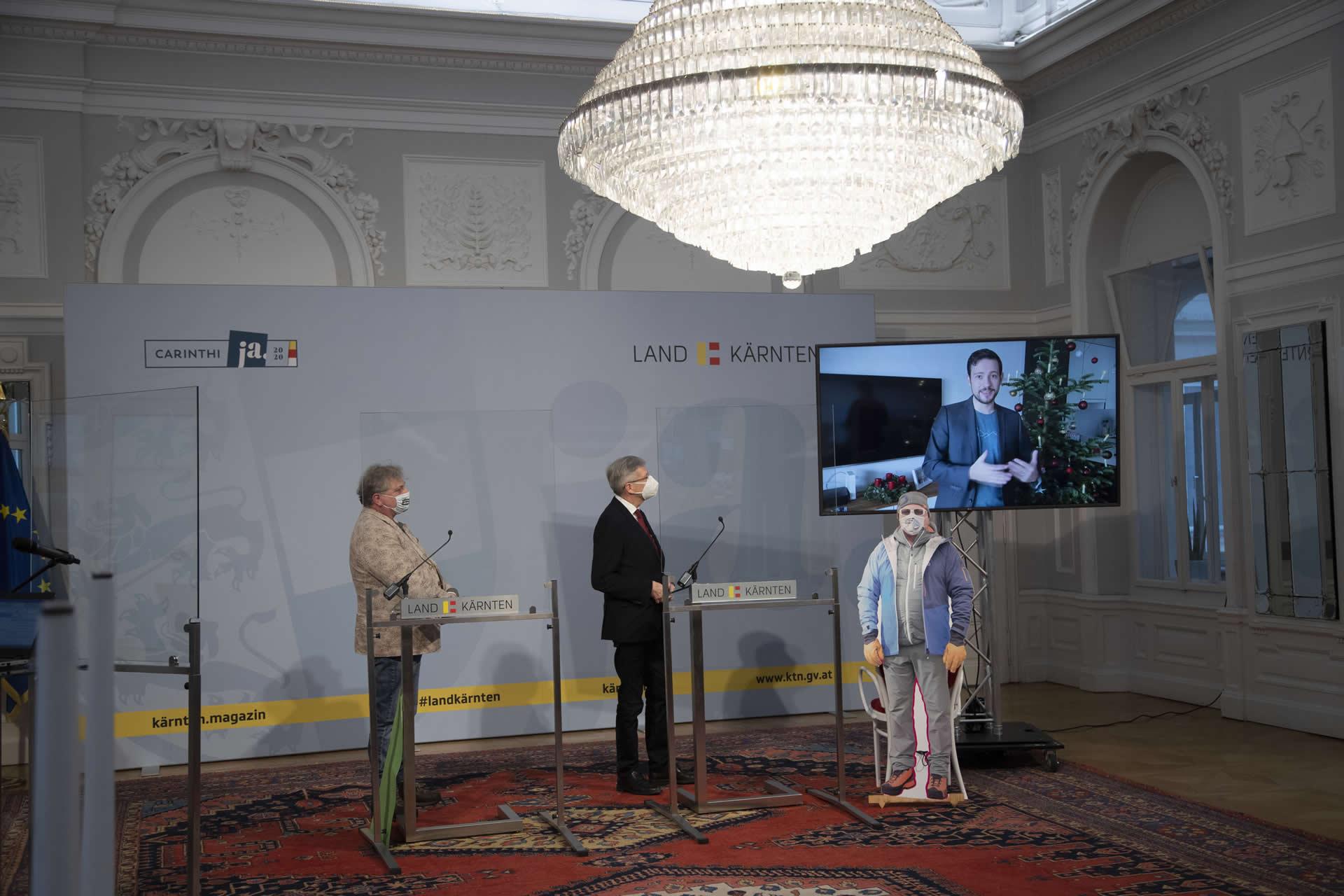 for distance Pressekonferenz | Reinhard Eberhart | LH Dr Peter Kaiser | Sebastian Schuschnig